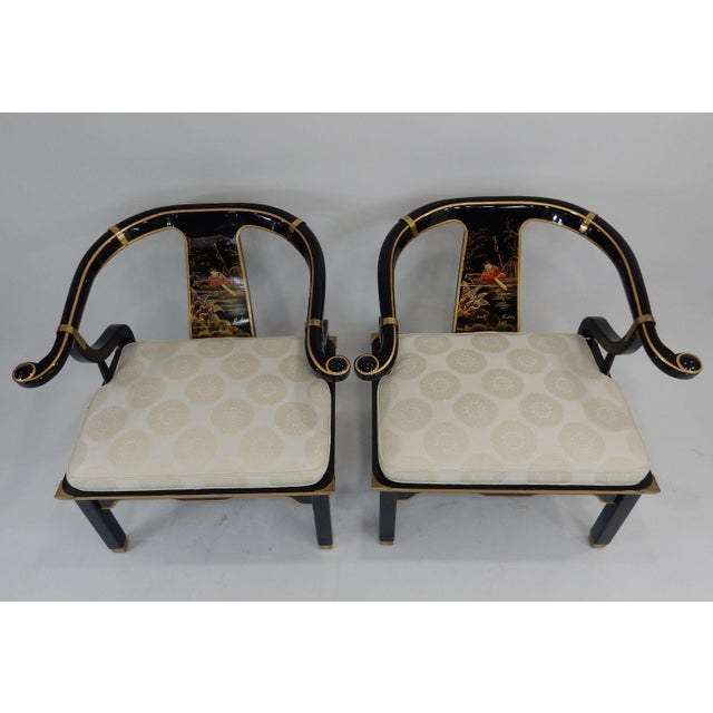 Century Black & Gold Chinoiserie Horseshoe Back Chairs - A Pair - Image 9 of 11