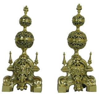 Pair of Chenets or Andirons With Two Pierced or Reticulated Balls, 19th Century For Sale