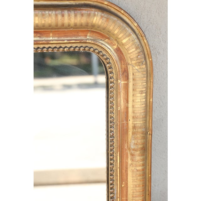Giltwood 19th Century French Louis Philippe Beaded Gilt Frame Mirror For Sale - Image 7 of 11