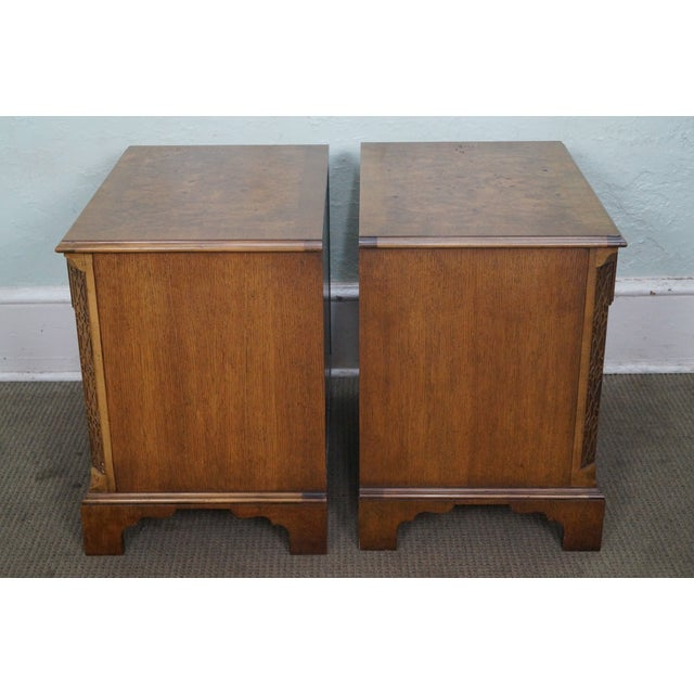 Baker Burl Walnut Chippendale Style Nightstands - A Pair - Image 3 of 10