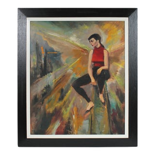 Modernist Portrait of a Woman in Red & Black, Oil Painting, Mid 20th Century For Sale