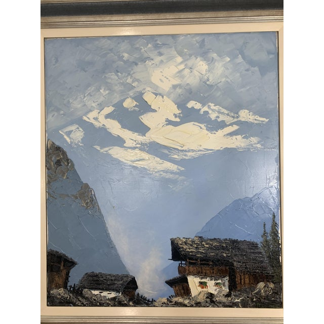 Vintage Swiss Alps and Cabin Large Framed Painting For Sale - Image 4 of 12