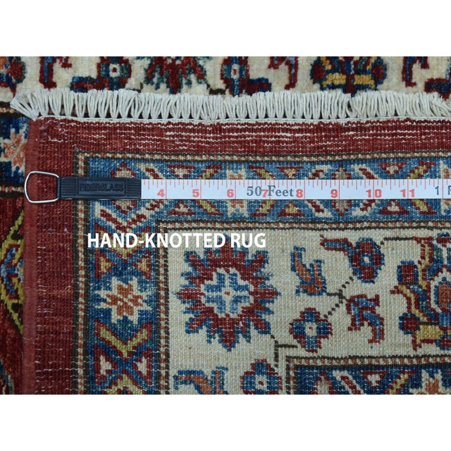 Red Kazak Pure Wool Geometric Design Hand-Knotted Runner Rug For Sale In New York - Image 6 of 7