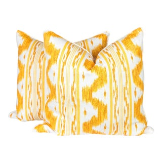 Canary and Ivory Linen Frey Ikat Pillows, a Pair For Sale