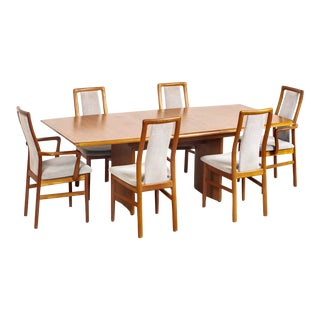 Mid Century Danish Modern Teak Wood Dining Set With Six 6 Chairs For Sale