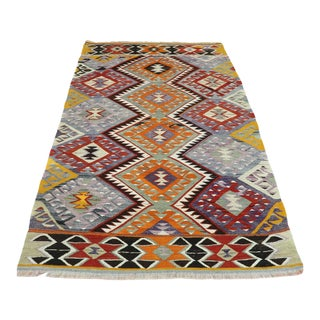 Turkish Antalya Kilim Wool Rug-4′5″ × 6′9″ For Sale