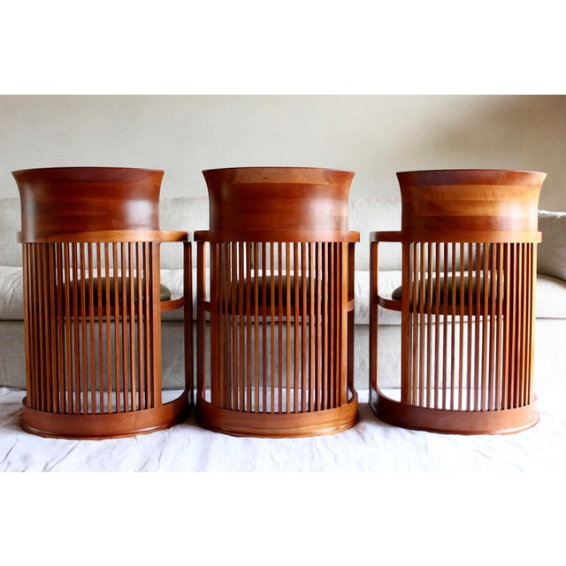 "Vintage Italian Frank Lloyd Wright ""Taliesin 606"" Cherry Barrel Chair For Sale In San Diego - Image 6 of 13"
