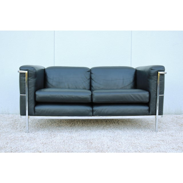 1980's Le Corbusier LC2 Jack Cartwright Black Leather Loveseat For Sale - Image 13 of 13