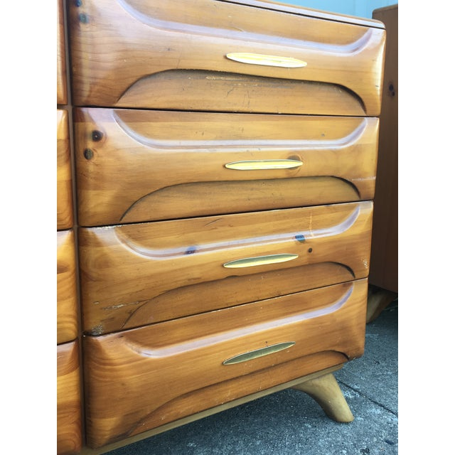 Brass Franklin Shockey Mid-Century Sculptured Pine Dresser For Sale - Image 7 of 11
