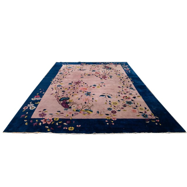 Art Deco Antique Rose Chinese Art Deco Wool Rug 8 Ft 9 in X 11 Ft 8 In. For Sale - Image 3 of 12