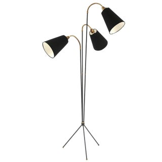 Iron Brass and Linen Tripod Floor Lamp For Sale