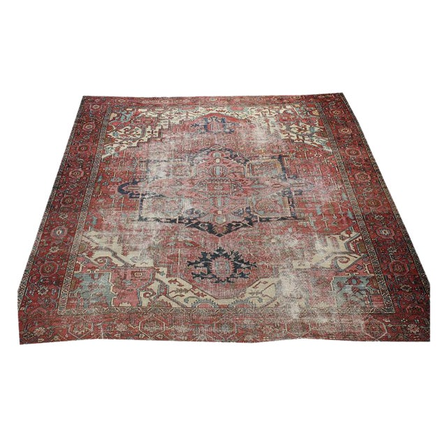 North West Persian Distressed Antique Serapi Rug - 10′4″ × 11′10″ - Image 1 of 3