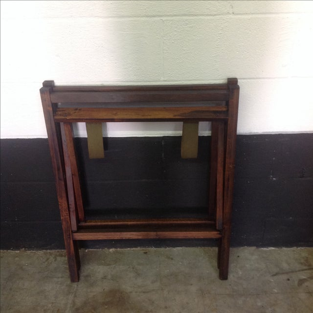 Brown 1950's Walnut and Acrylic Folding Bar For Sale - Image 8 of 10
