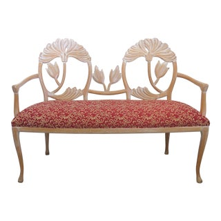 LaVerne Style Carved Wood Settee