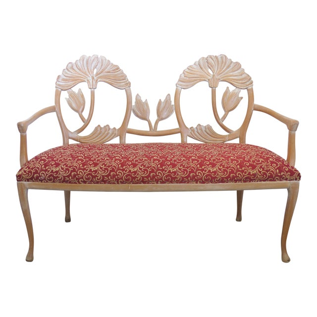 LaVerne Style Carved Wood Settee For Sale