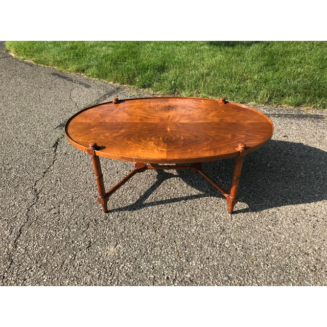 Oval Walnut Coffee Table For Sale - Image 9 of 9