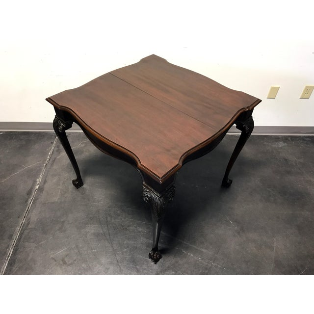 Chippendale Drexel Heritage Heirlooms Chippendale Mahogany Ball Claw Card Table For Sale - Image 3 of 11