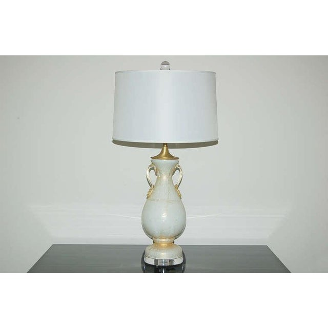 Murano Vintage Murano Glass Table Lamps White Gold For Sale - Image 4 of 8