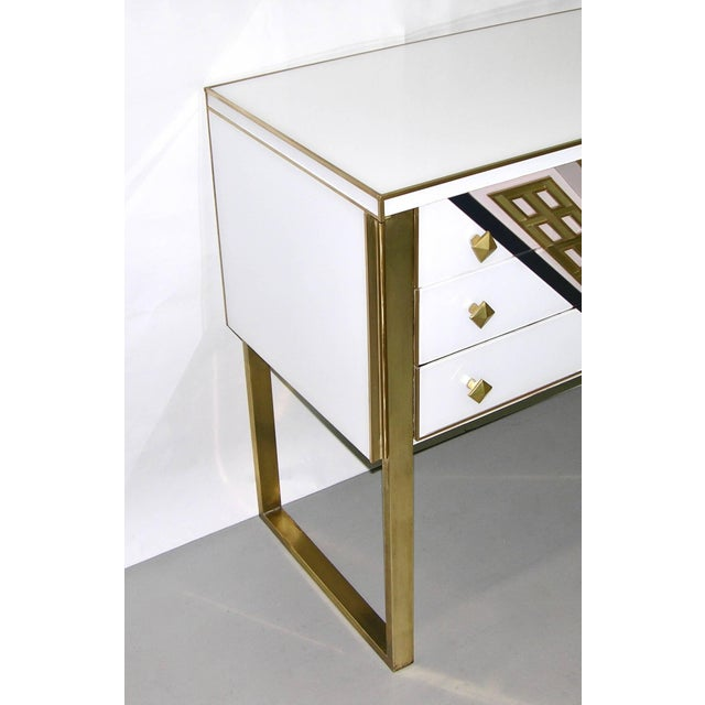 Metal 1990s Italian White Black and Gold Chest Sideboard on Brass Legs For Sale - Image 7 of 10