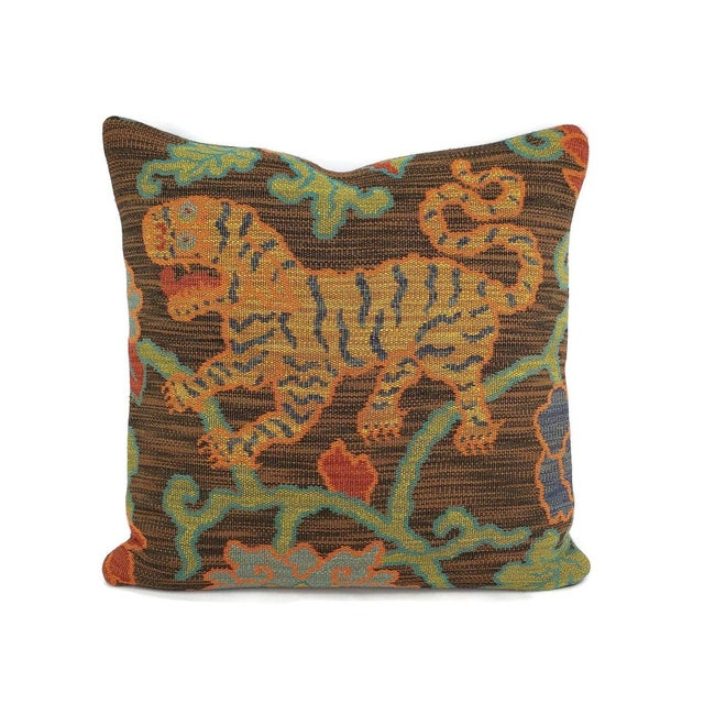 "Black F. Schumacher Khotan Weave in the Color Sable Square Pillow Cover - 20"" X 20"" Brown, Orange, Blue, Tiger Weave Throw Cushion Case For Sale - Image 8 of 8"