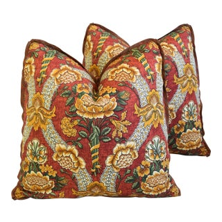 """Schumacher Woodford Floral Feather/Down Pillows 21"""" Square - Pair For Sale"""