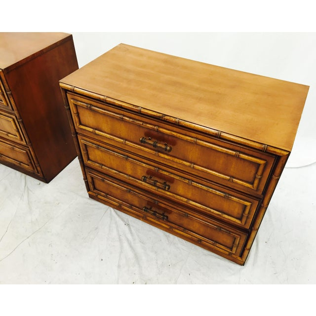 Vintage Mid-Century Bamboo Bedside Chests - A Pair - Image 8 of 10