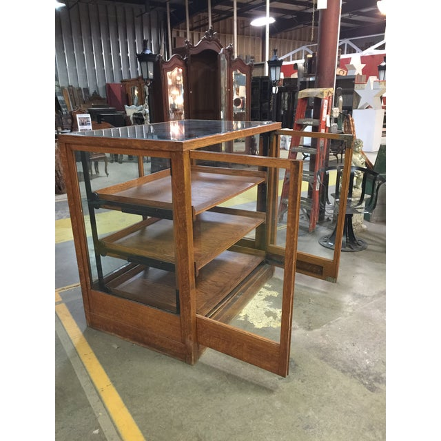 Wood 1900s Americana Oak Display Cabinet With Sliding Shelves For Sale - Image 7 of 8