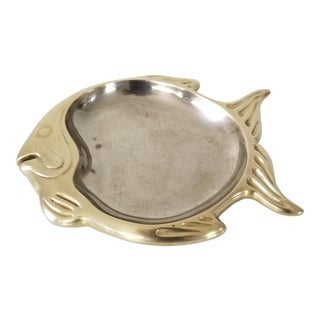 Vintage Heavy Brass Fish Fruit Tray . For Sale