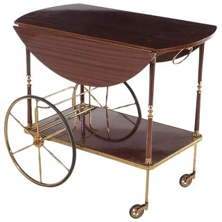 Mid-20th Century Mahogany and Brass French Service Trolley