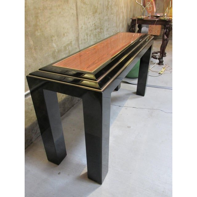 Rougier Regency Style Black Lacquer Console Table - Image 3 of 8