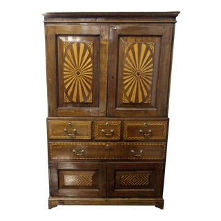 Early American Breakfront Cabinet With Wood Intarsia