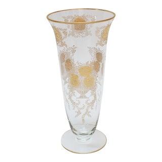 Gilded Floral Moser Vase For Sale