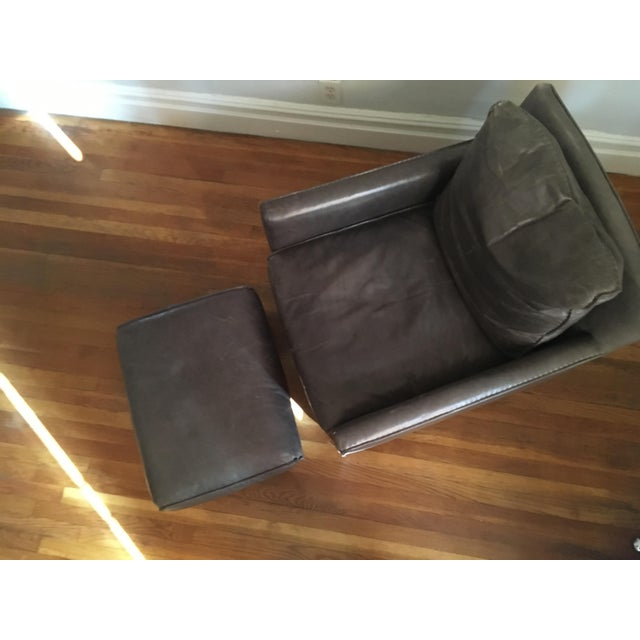 Bram Smoke Leather Ottoman From Room & Board - Image 3 of 3