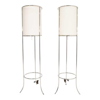 Tripod Nickel Floor Lamps by T.H. Robsjohn-Gibbings for Hansen - a Pair For Sale