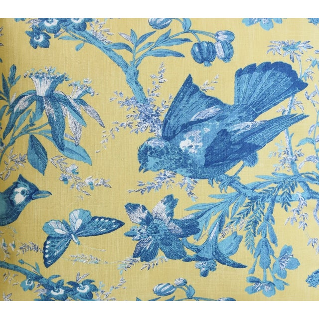 """Designer Blue & Yellow Bird and Butterflies Feather/Down Pillows 21"""" Square - Pair For Sale - Image 4 of 13"""