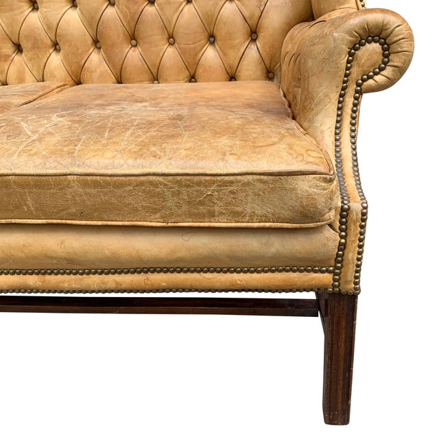 20th Century Vintage English Chippendale Style Wingback Settee For Sale In Chicago - Image 6 of 13