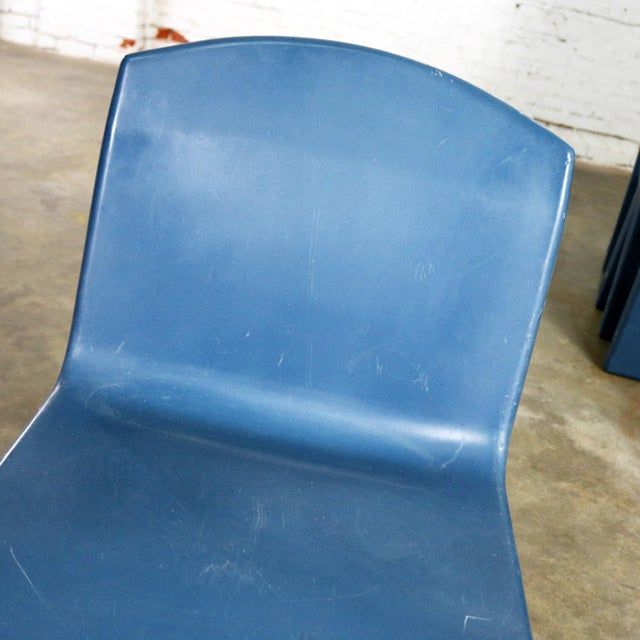 Blue Molded Plastic Side or Slipper Chairs by Norix Set of Eight For Sale - Image 10 of 13