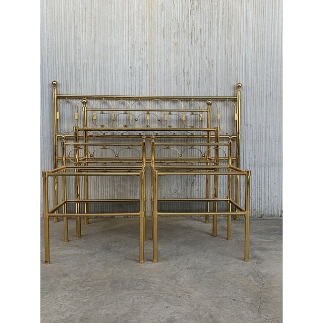 Metal Mid Century Modern Full Brass Headboard Featuring Gometrical FIgure For Sale - Image 7 of 10