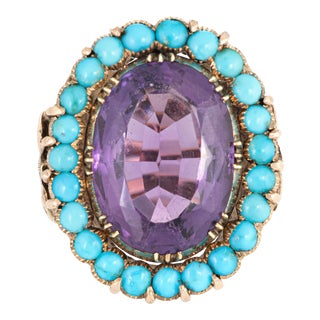 Amethyst Turquoise Ring Vintage 14k Yellow Gold Cocktail Large Oval Estate 5.5 For Sale