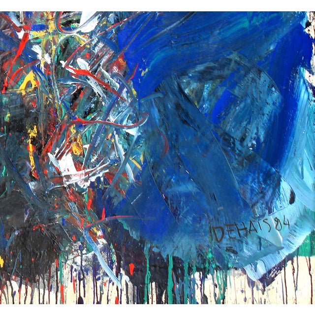 """Monumental Abstract Oil on Canvas Titled """"Figure"""" Signed Dehais, Dated 1984 For Sale In Miami - Image 6 of 8"""
