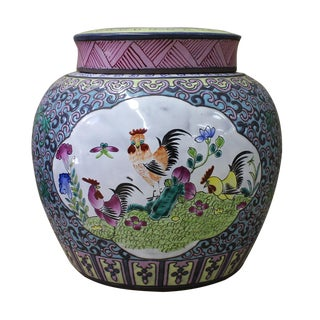 Chinese Zisha Clay Color Rooster Scenery Container Jar cs2636 For Sale