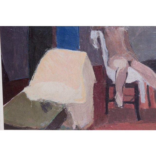 Gold A Contemporary Oil on Canvas of a Nude in an Interior Seated on a Chair For Sale - Image 8 of 13