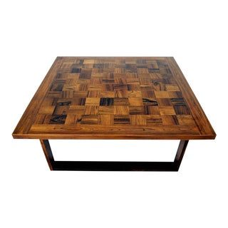 1970s Danish Modern Paul Cadoviuos Square Parquet Rosewood Coffee Table For Sale