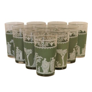 Sage Green Jasperware Glass Tumblers, Set of 10 For Sale