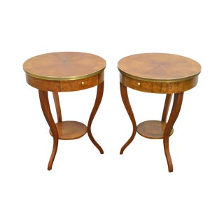 Baker Pair of Round Regency Style Burl Wood One-Drawer Side Tables
