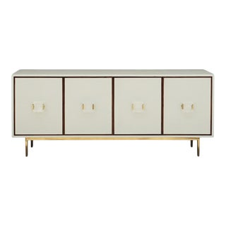 Worlds Away Modern Cream Faux Shagreen Four Door Manchester Sideboard/Cabinet For Sale