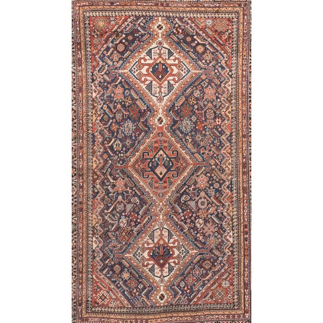 Antique Handmade Ghashkai Persian Rug For Sale - Image 4 of 5