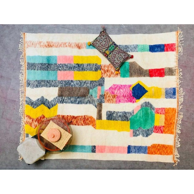 """Eggshell Moroccan Beni Ourain Mrirt Rug-8'x10"""" For Sale - Image 8 of 9"""
