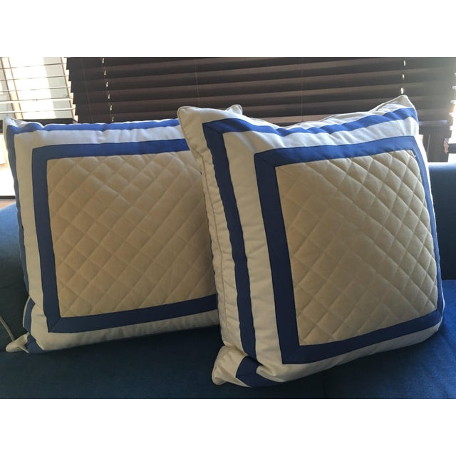 Traditional 1990s Striped Quilted Pillows - A Pair For Sale - Image 3 of 4