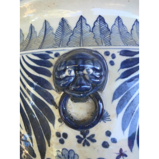Blue & White Chinese Fish Motif Planter - Image 9 of 10